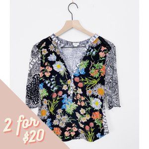 ANTHRO TINY Floral Multi Pattern Henley Top XS